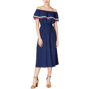 Maison Jules Blue Off the Shoulder Polka Dot Dress